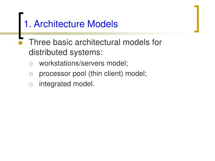 1. Architecture Models