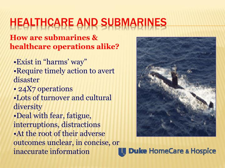 Healthcare and submarines