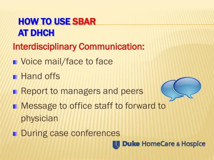 Interdisciplinary Communication: