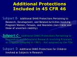 additional protections included in 45 cfr 46