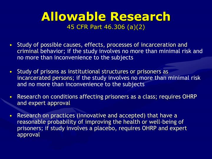 Allowable Research