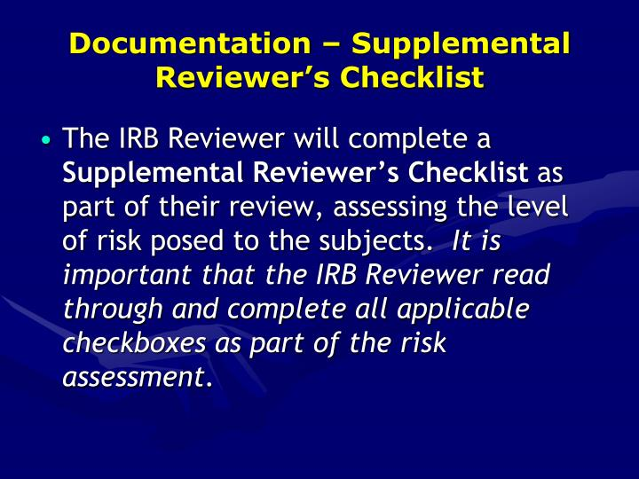 Documentation – Supplemental Reviewer's Checklist