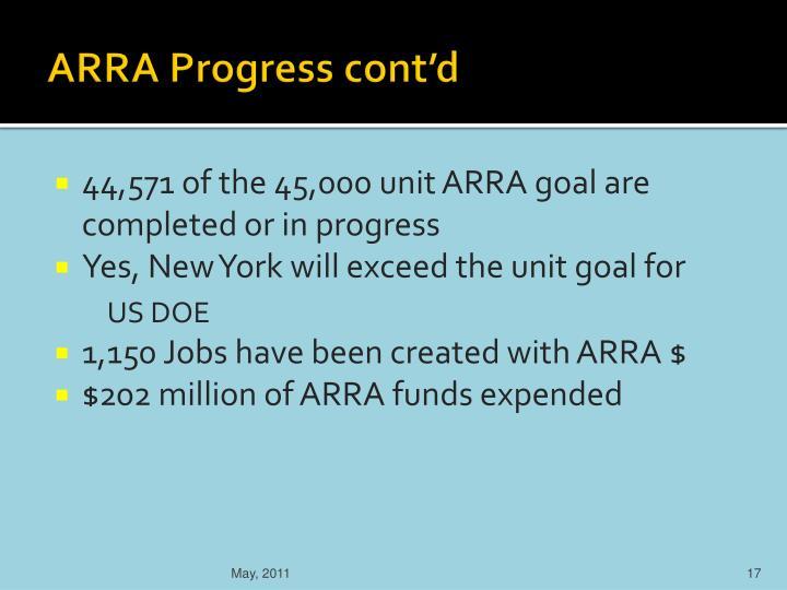ARRA Progress cont'd