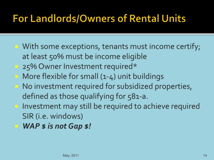 For Landlords/Owners of Rental Units