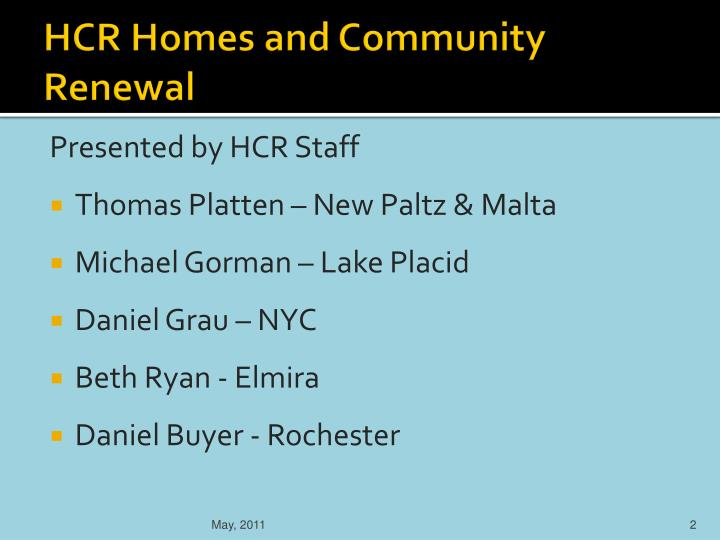 Hcr homes and community renewal
