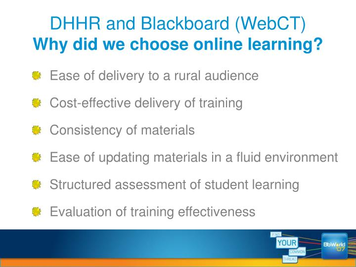 DHHR and Blackboard (WebCT)