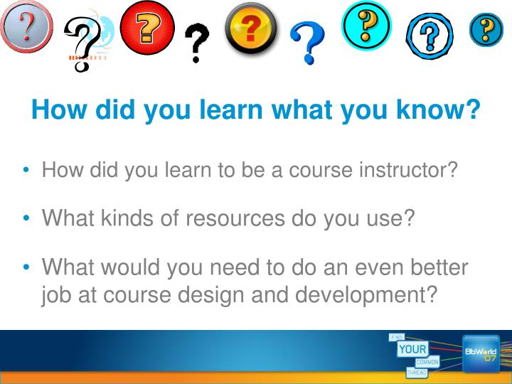 How did you learn what you know?