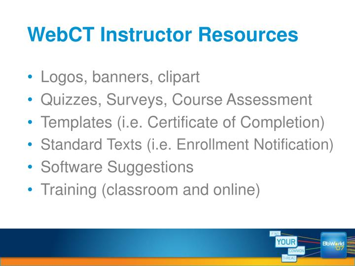 WebCT Instructor Resources