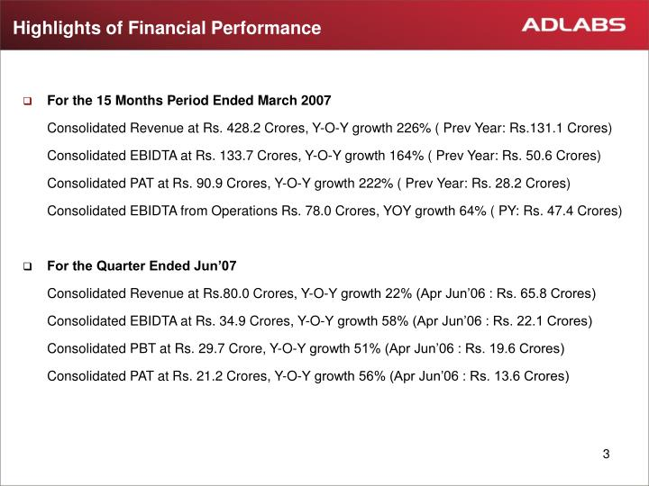 Highlights of financial performance
