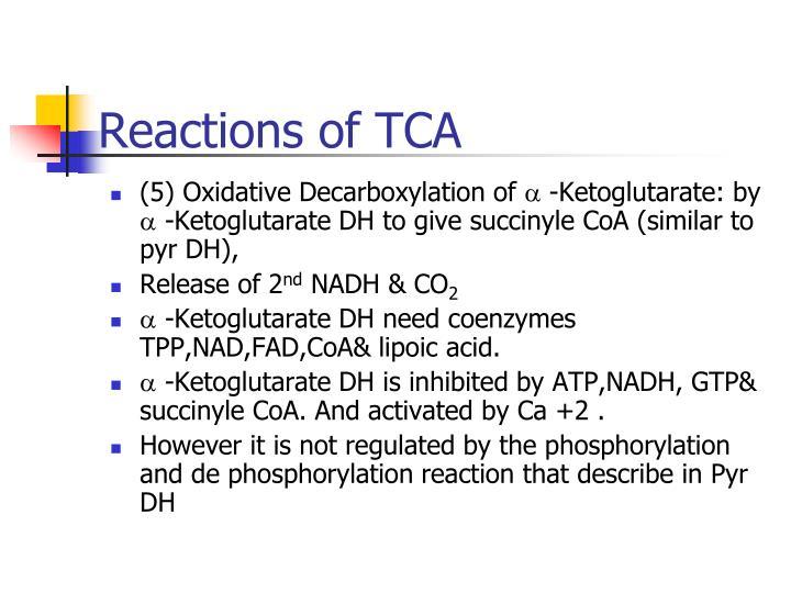 Reactions of TCA