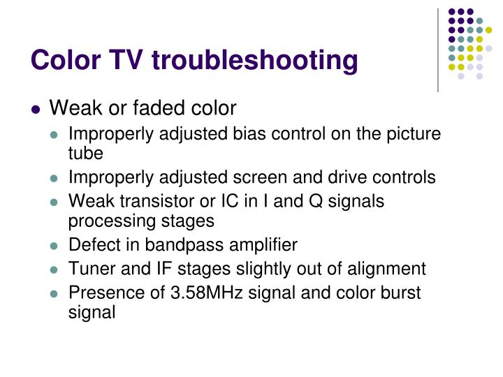 Color TV troubleshooting
