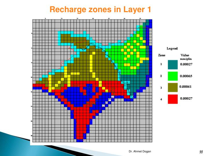 Recharge zones in Layer 1