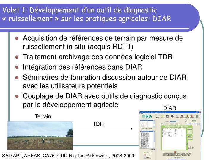 Volet 1: Développement d'un outil de diagnostic «ruissellement» sur les pratiques agricoles: DIAR