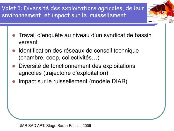 Volet 1: Diversité des exploitations agricoles, de leur environnement, et impact sur le  ruissellement
