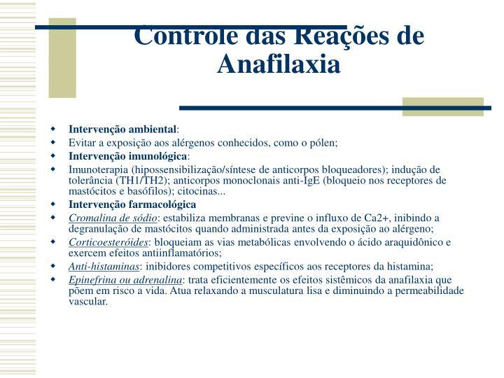 Controle das Reações de Anafilaxia