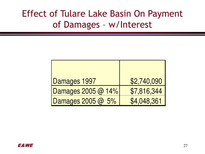 Effect of Tulare Lake Basin On Payment of Damages – w/Interest
