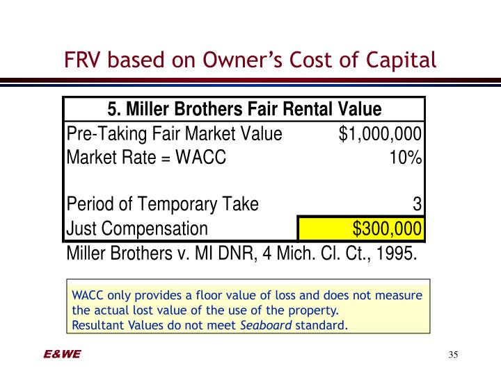 FRV based on Owner's Cost of Capital