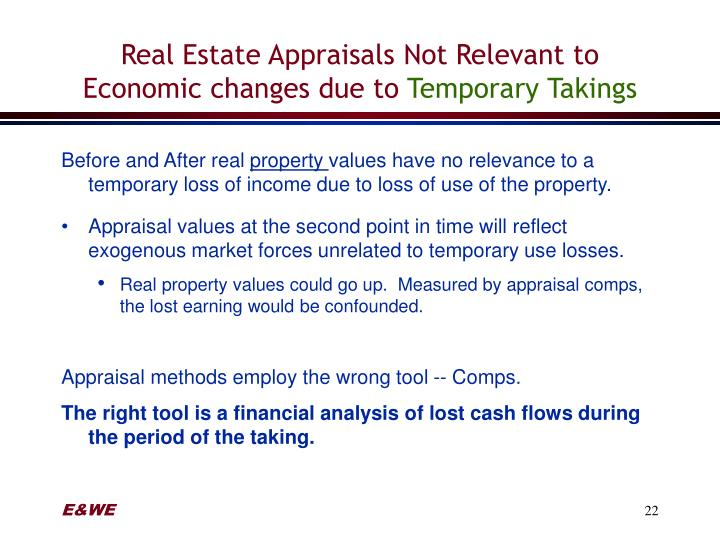 Real Estate Appraisals Not Relevant to Economic changes due to