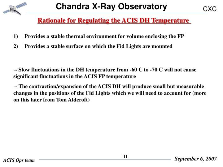Rationale for Regulating the ACIS DH Temperature