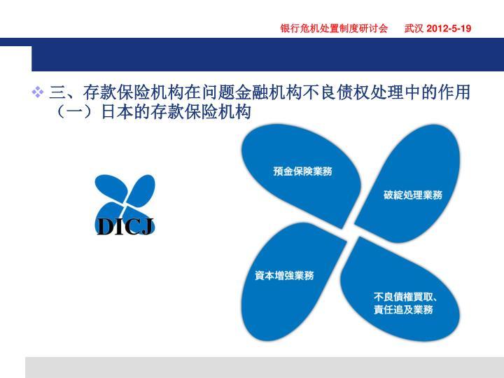 三、存款保险机构在问题金融机构不良债权处理中的作用(一)日本的存款保险机构