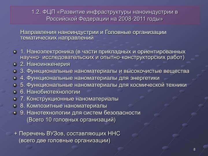 1.2. ФЦП «Развитие инфраструктуры наноиндустрии в