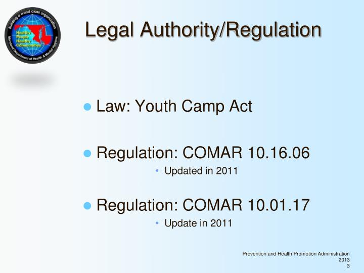 Legal authority regulation