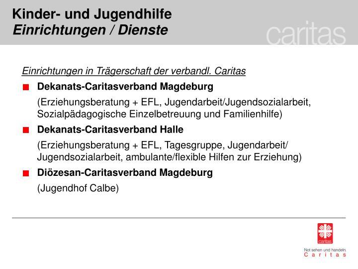Einrichtungen in Trägerschaft der verbandl. Caritas