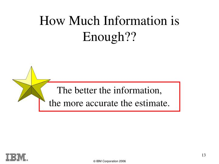 How Much Information is Enough??