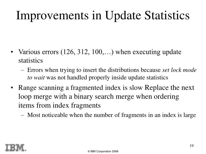Various errors (126, 312, 100,…) when executing update statistics