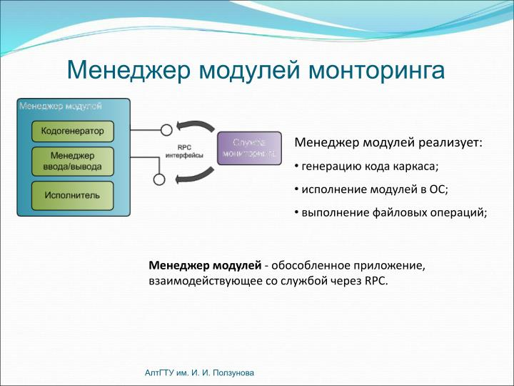 Менеджер модулей монторинга