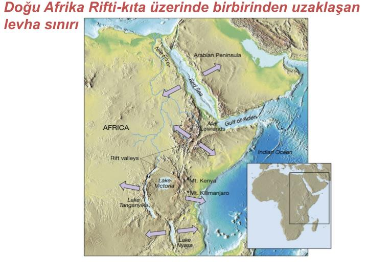Doğu Afrika Rifti-kıta üzerinde birbirinden uzaklaşan levha sınırı