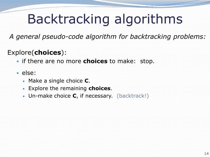 Backtracking algorithms