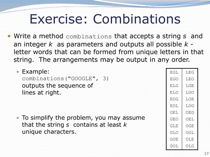 Exercise: Combinations