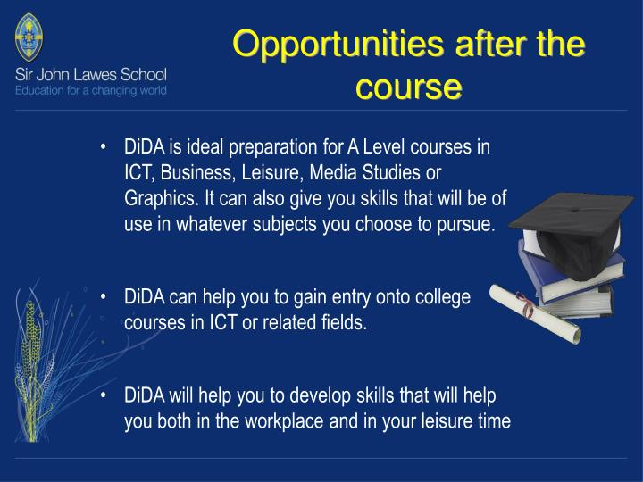 Opportunities after the course