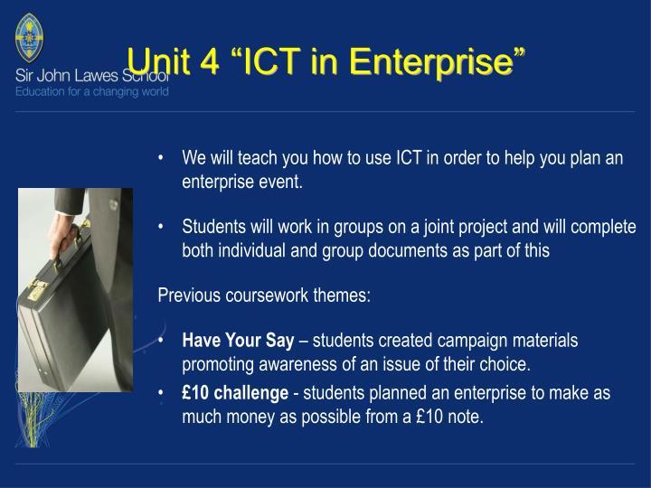 """Unit 4 """"ICT in Enterprise"""""""