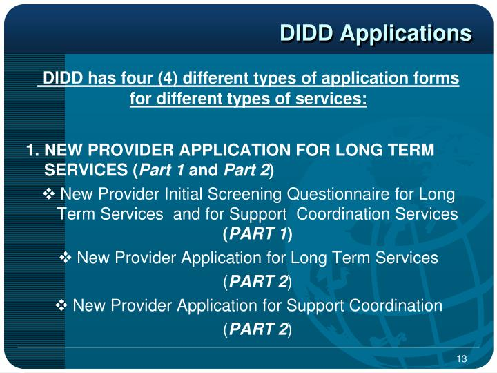 DIDD Applications