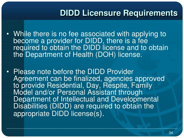 DIDD Licensure Requirements