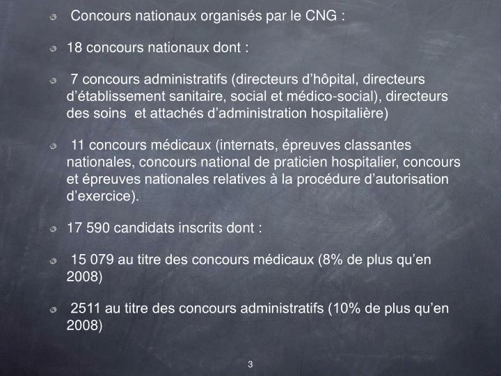 Concours nationaux organisés par le CNG: