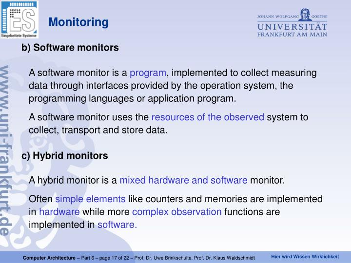 b) Software monitors