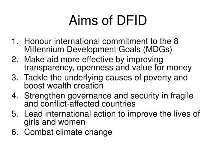 Aims of DFID