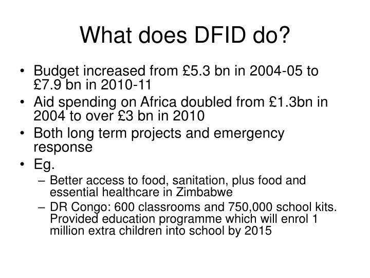 What does DFID do?