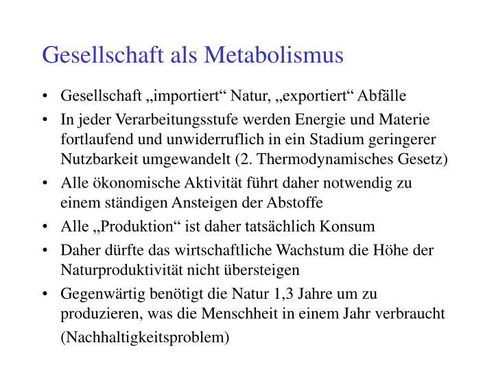 Gesellschaft als Metabolismus