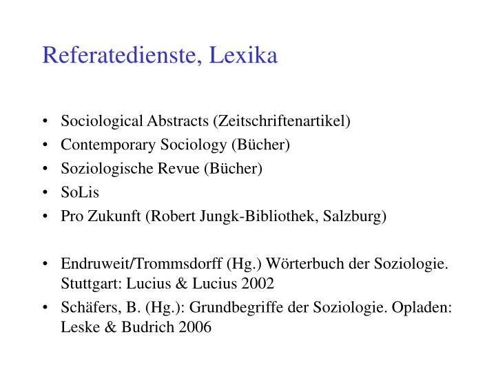 Referatedienste, Lexika