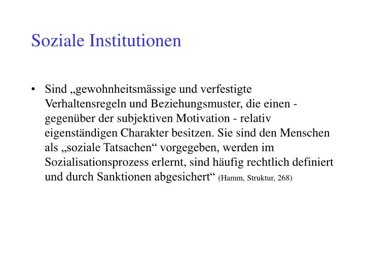 Soziale Institutionen