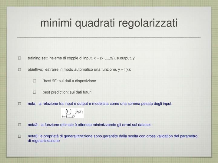 minimi quadrati regolarizzati