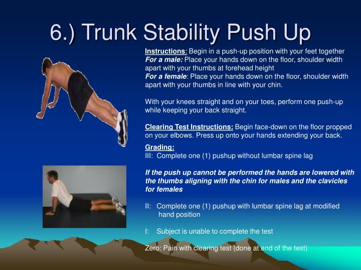 6.) Trunk Stability Push Up