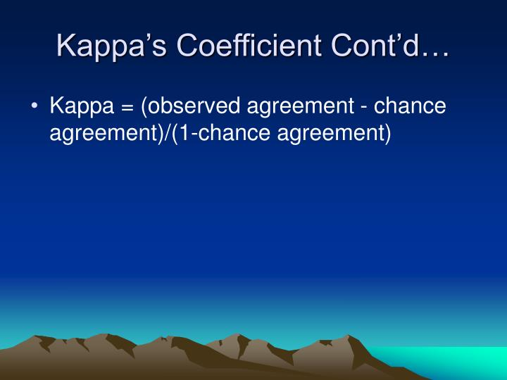 Kappa's Coefficient Cont'd…