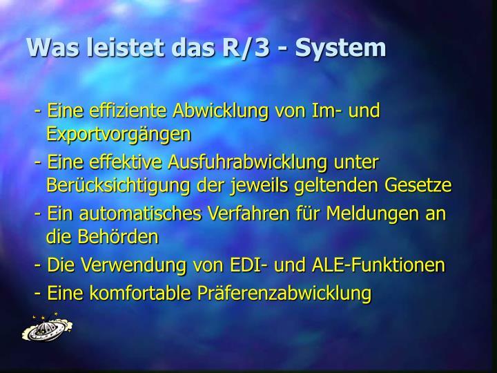 Was leistet das R/3 - System