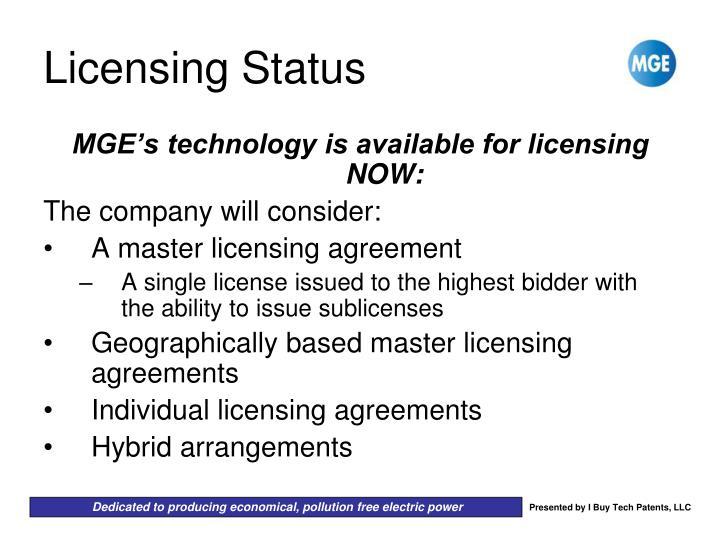 Licensing Status