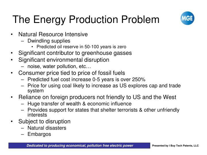 The energy production problem